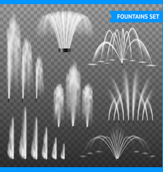 Realistic fountain transparent set vector