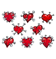 Red hearts pierced by nails vector image vector image
