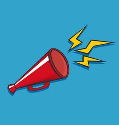 Red loudspeaker megaphone bullhorn icon or vector