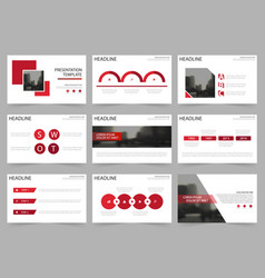 Red square abstract presentation templates vector