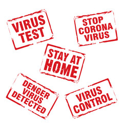 Red stamp and text stop corona virus stay at vector