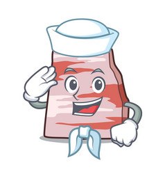 Sailor with binocular pork lard character cartoon vector