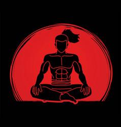 Samurai warrior sitting cartoon graphic vector