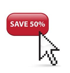 Save 50 Button Click vector