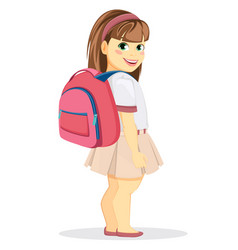 Schoolgirl with backpack coming back to school vector