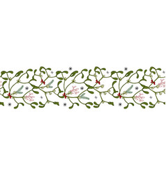Seamless border mistletoe branches with red vector