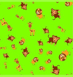 seamless pattern of giraffe lion and monkey vector image