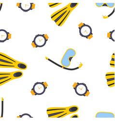 seamless pattern with diving equipment vector image