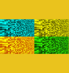set colorful pixel texture backgrounds vector image
