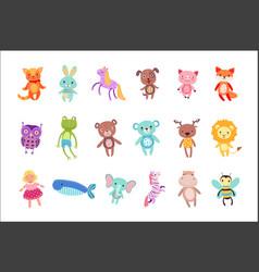 Set cute colorful soft plush animal toys vector