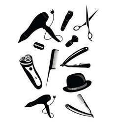 set elements for a hairdresser a collection of vector image