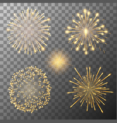 set five fireworks bursting in various shapes vector image