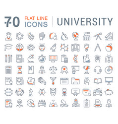 Set flat line icons university vector