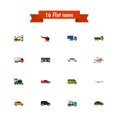 set of 16 editable automobile icons flat style vector image