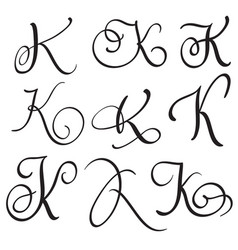 Set Of Art Calligraphy Letter K With Flourish Vector Image