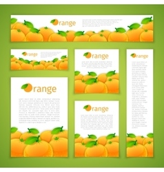 Set of Orange Banners vector
