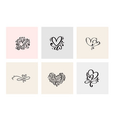 set of six vintage valentines day hand vector image