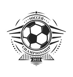 Soccer championship logotype or emblem in retro vector