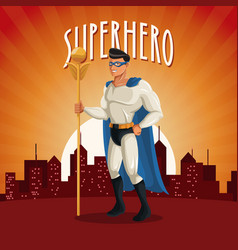 Superhero costume comic standing with sunset city vector