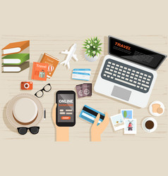 top view shopping online with computer for vector image