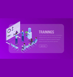 trainings isometric landing page template vector image