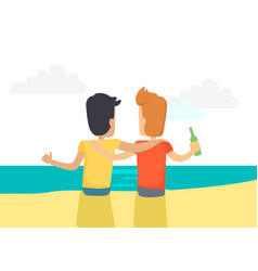 two best friends drinking beer at seaside vector image