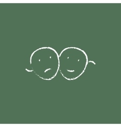 Two theatrical masks icon drawn in chalk vector