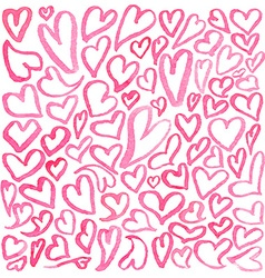 Watercolor square pattern of hearts vector