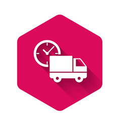 White logistics delivery truck and clock icon vector