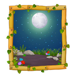 Wooden frame with nature scene and fullmoon vector