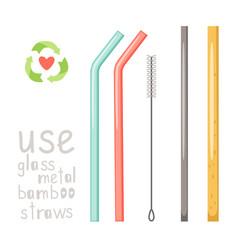 zero waste straws vector image