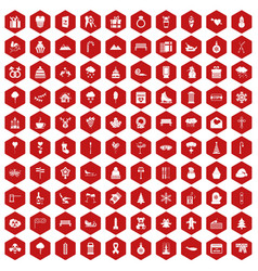 100 winter holidays icons hexagon red vector image vector image