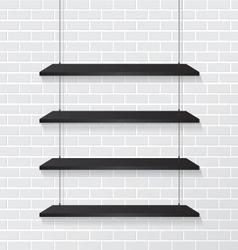 Brick wall and black shelves vector image vector image