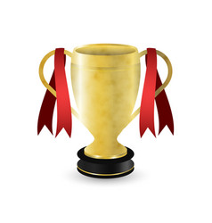 golden sport trophy with dark pedestal and red vector image