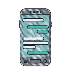 smartphone with chat text in screen in colored vector image vector image