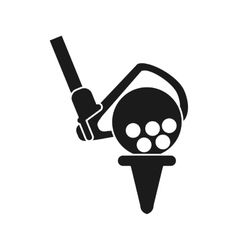 Ball and club of golf sport design vector image