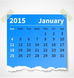 Calendar january 2015 colorful torn paper vector image vector image