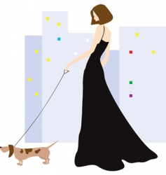 lady and dog vector image vector image