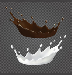 Milk and chocolate splashes and drops vector