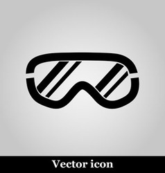 Ski goggles icon on grey background vector image