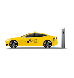 yellow electric car with logo eco taxi vector image vector image