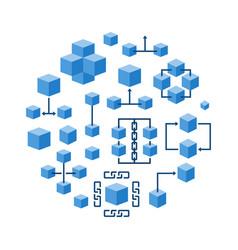 blockchain technology round blue vector image vector image