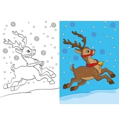 Coloring Book Of Christmas Deer Running On Snow vector image vector image