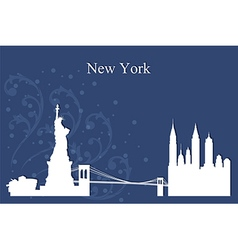 New York city skyline on blue background vector image vector image