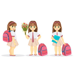 schoolgirl with backpack bouquet of flowers and vector image vector image