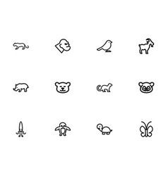 Set of 12 editable zoo outline icons includes vector