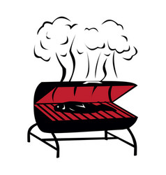 black bbq grill icon vector image