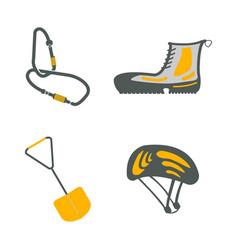 Carbine hiking boots shovel helmet flat icons vector
