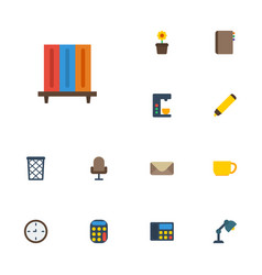 flat icons watch tea phone and other vector image vector image