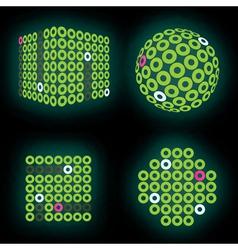 fluorescent green neon cube on deep black backdrop vector image vector image